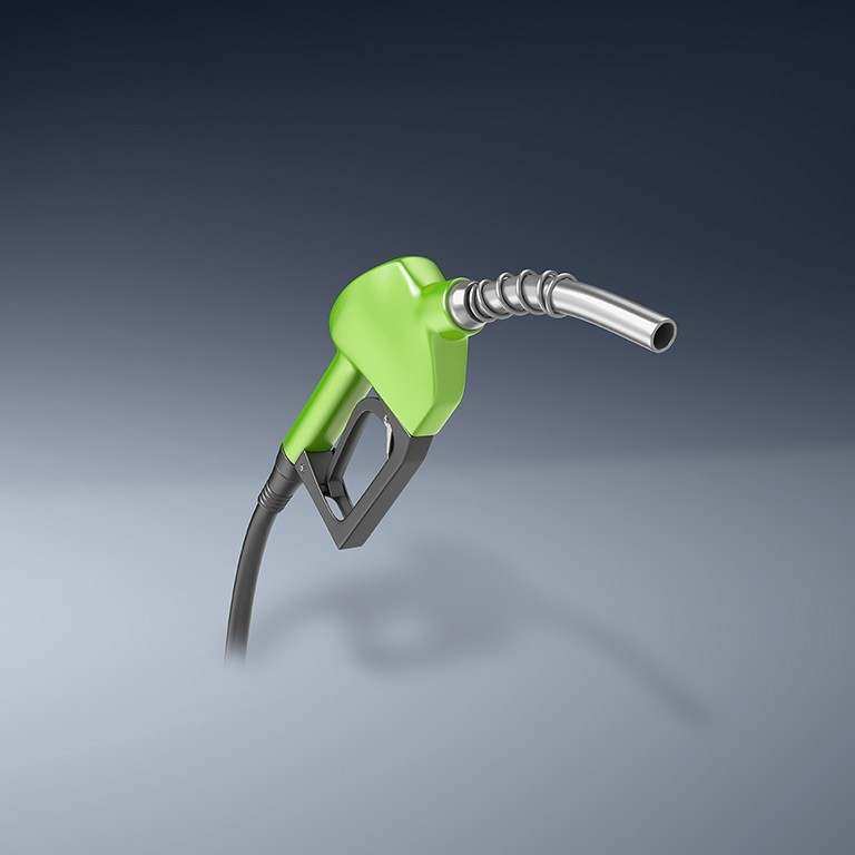 Gasoline tap on blue background