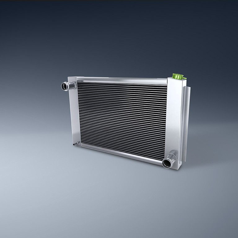 Cooling evaporator on blue background